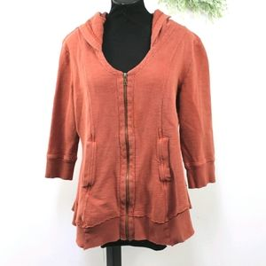 Monroe & Main distressed rust zip front sweatshirt